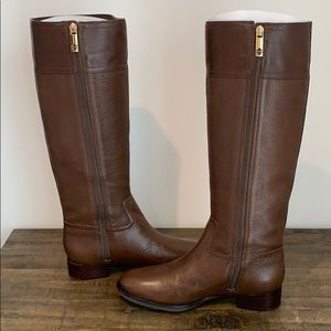 Tory Burch Julian Riding Boot Fig Brown size 8